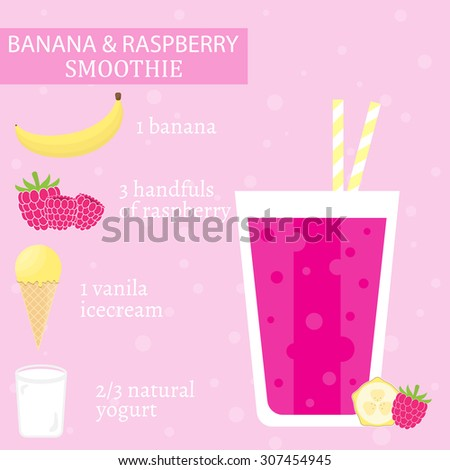 Banana and raspberry milkshake recipe with ice cream. Menu element for cafe or restaurant with energetic fresh drink made in flat style. Fresh juice for healthy life. Organic raw shake. - stock vector