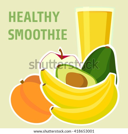 Banana, avocado,peach and apple smoothie . Menu element for cafe or restaurant with energetic fresh drink made in flat style. Organic raw shake. Vector illustration - stock vector