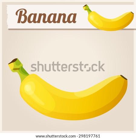 Banana. Cartoon vector icon isolated on tan background. - stock vector