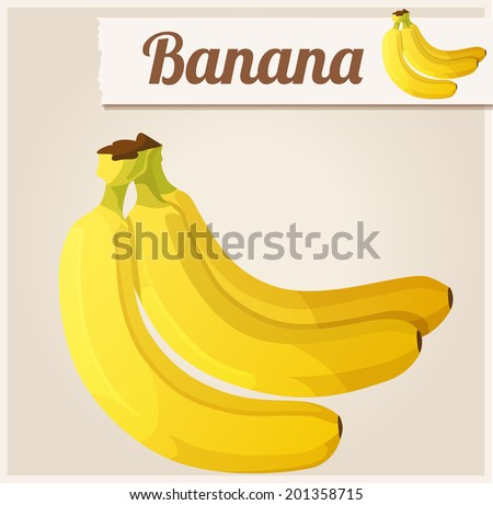 Banana.  Detailed Vector Icon. Series of food and drink and ingredients for cooking. - stock vector
