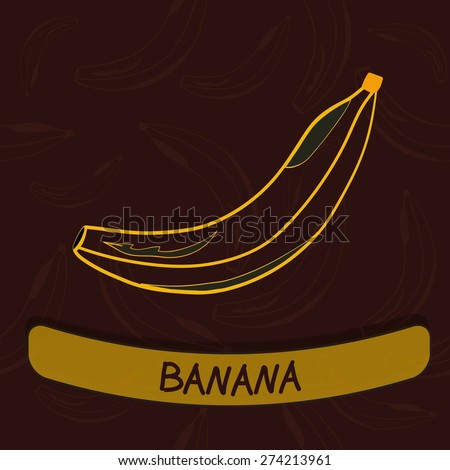 Banana Flavour Seal on Red Seamless Background - Vector Illustration - stock vector