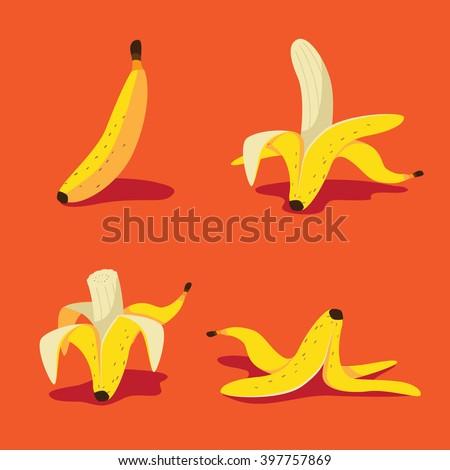 Banana icon collection. EPS 10 vector. - stock vector