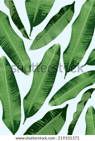 banana leaf background vector/illustration - stock vector