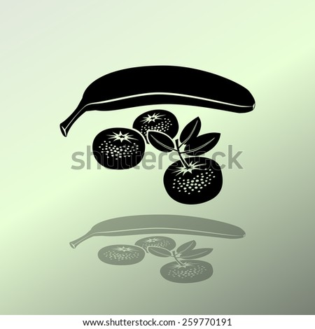 Banana, mandarin icon. Four fruits. Black silhouette with shadow on light green background. Flat design. Vector isolated - stock vector