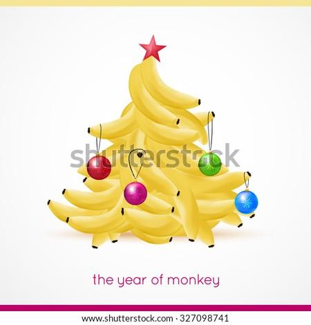 Banana xmas tree - stock vector