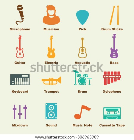 band elements, vector infographic icons - stock vector