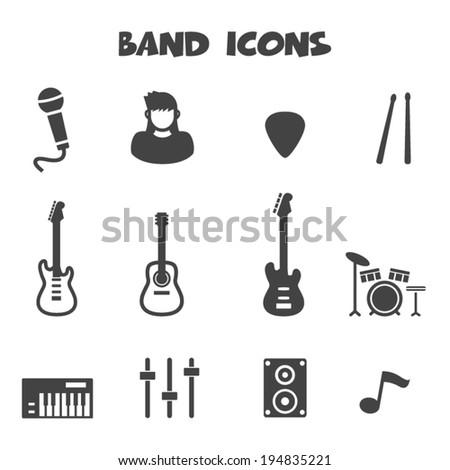 band icons, mono vector symbols - stock vector