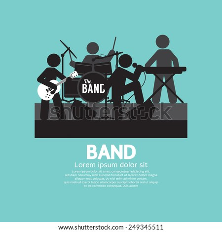 Band Of Musician Black Symbol Vector Illustration - stock vector