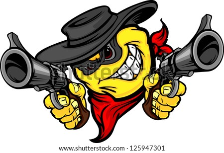 Bandit Smile Face Vector Image Aiming Guns Illustration - stock vector
