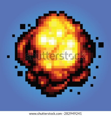 bang explosion pixel art game style retro illustration - stock vector