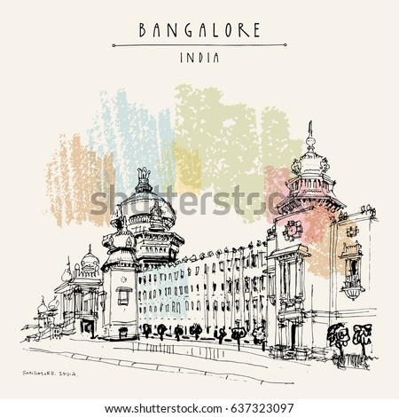 Bangalore Karnataka India Building Neodravidian Style Stock Vector 637323097 - Shutterstock
