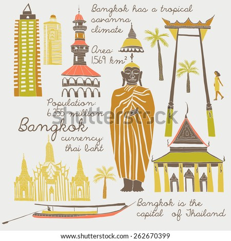 Bangkok, landmarks and symbols set - stock vector