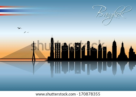 Bangkok skyline - vector illustration - stock vector