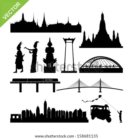 Bangkok symbol and landmark silhouettes vector - stock vector