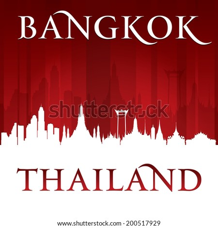 Bangkok Thailand city skyline silhouette. Vector illustration - stock vector