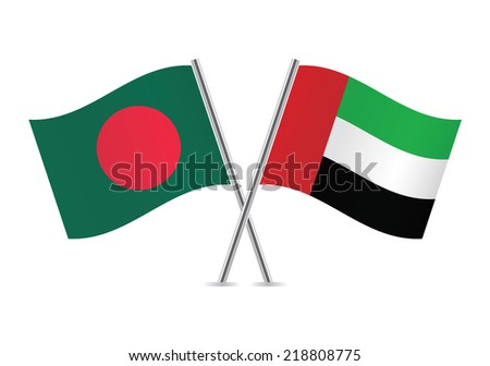 Bangladesh and United Arab Emirates flags. Vector illustration.  - stock vector