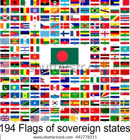 Bangladesh, collection of vector images of flags of the world