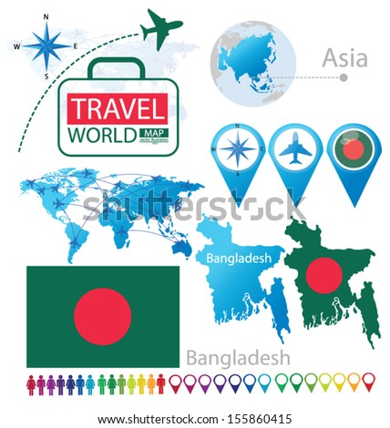 Bangladesh. flag. Asia. World Map. Travel vector Illustration.