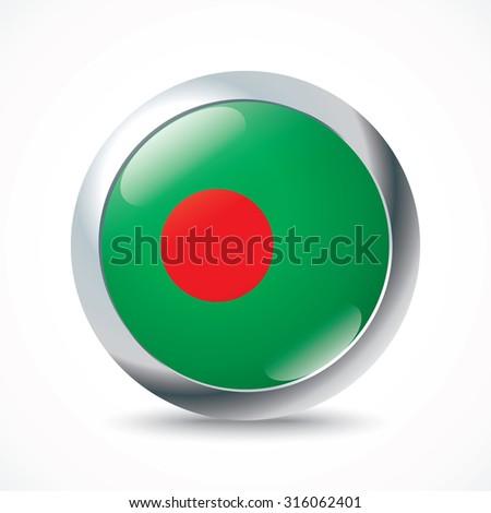 Bangladesh flag button - vector illustration - stock vector