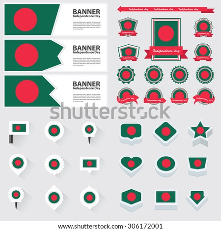 bangladesh independence day, infographic, and label Set.