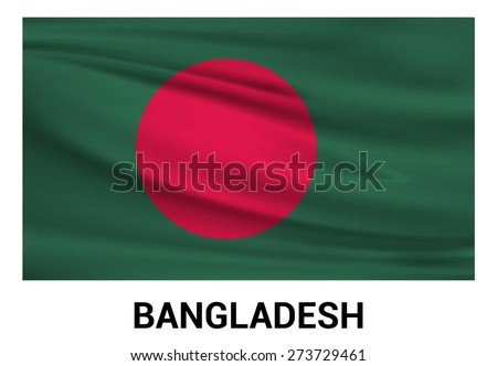 Bangladesh Waving flag isolated vector in official colors and Proportion Correctly. waving wind Flag realistic fabric effect. country's name label in bottom - stock vector