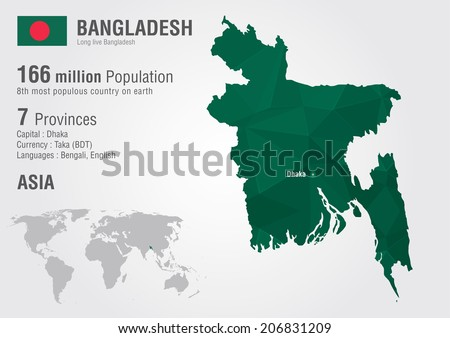 Bangladesh map stock images royalty free images vectors bangladesh world map with a pixel diamond texture world geography gumiabroncs Image collections