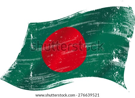 Bangladeshi grunge flag. Flag of Bangladesh in the wind with a texture - stock vector