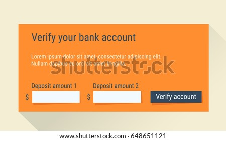 Bank Account Verification Form Account Confirmation Stock Vector ...