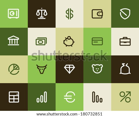 Bank and finance icons. Flat - stock vector