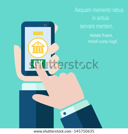 Bank app page on smart phone screen. Hand hold smart phone, finger touch screen. On line bank account. Creative flat design vector illustration