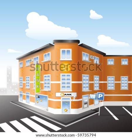 Bank Building - stock vector