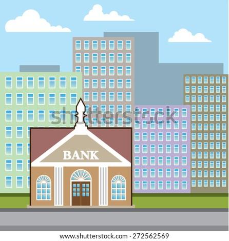 Bank building city sky vector - stock vector