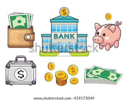 Bank building, coins and banknotes, piggy moneybox, wallet with money, briefcase with a dollar sign. Banking icons set isolated. - stock vector
