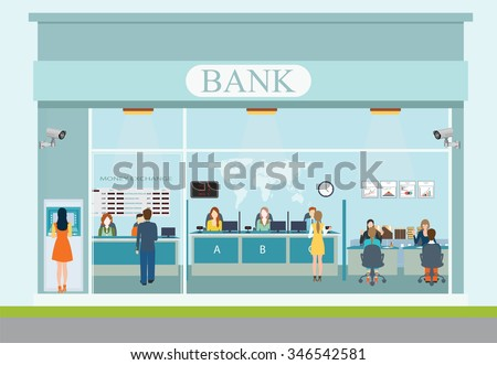 Bank building exterior and interior counter desk, cashier, consulting, money currency exchange, financial services, ATM, safety deposit box with CCTV security camera, banking vector illustration. - stock vector