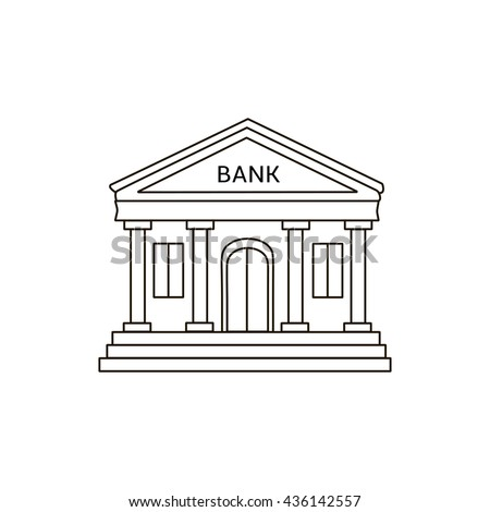 Bank Building Icon Lines Drawing