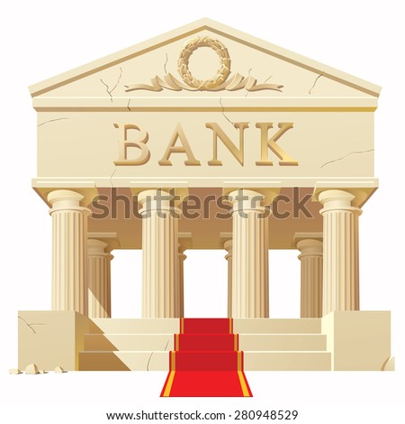 Bank building in antique style with a red carpet. Vector Illustration - stock vector