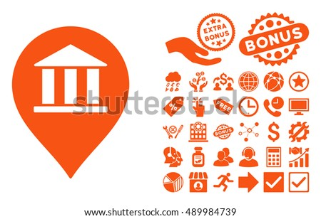 Bank Building Pointer pictograph with bonus clip art. Vector illustration style is flat iconic symbols, orange color, white background.