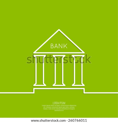 Bank building with columns on a green background. The concept of financial institutions, preservation and augmentation of money - stock vector