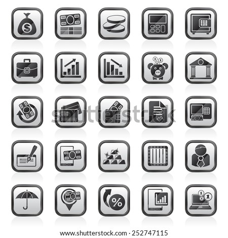Bank, business and finance icons - vector icon set - stock vector