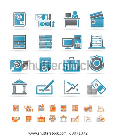 bank, business, finance and office icons - vector icon set - stock vector