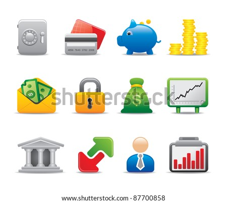 Bank business logo and icon set - stock vector