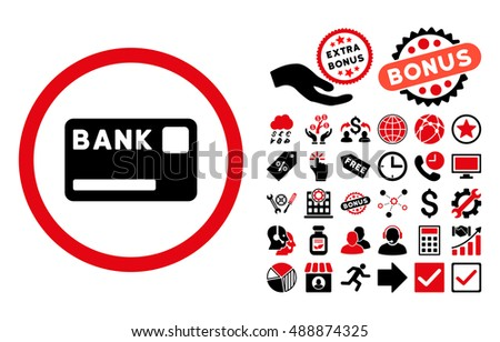 Bank Card icon with bonus clip art. Vector illustration style is flat iconic bicolor symbols, intensive red and black colors, white background.