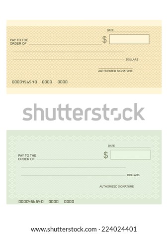 Bank check - stock vector