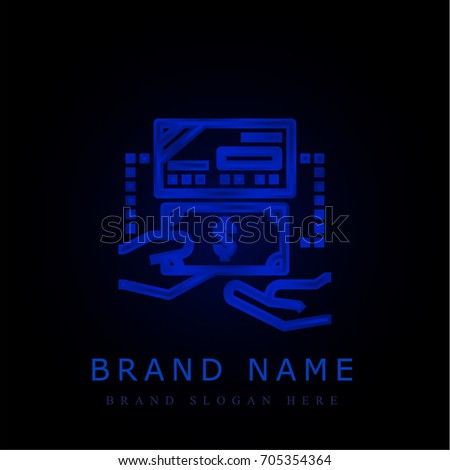 Bank Check Blue Chromium Metallic Logo Stock Vector 705354364