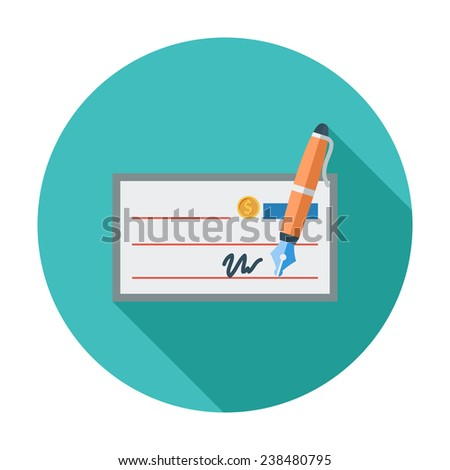 Bank check. Single flat color icon. Vector illustration. - stock vector