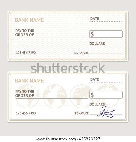 Bank Check Template Set Blank Form Vector 435823327 – Blank Cheque Template