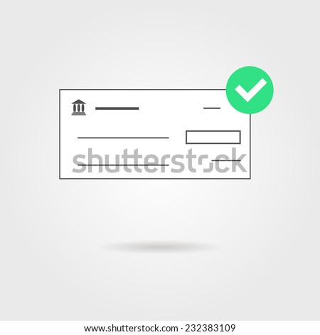 bank check with green check mark icon and shadow. isolated on grey stylish background. concept of banking transaction, shopping, earnings and payment of bills. modern trendy design vector illustration - stock vector