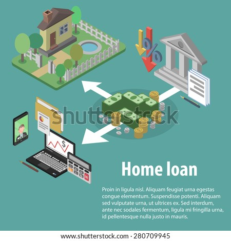Bank credit and home loan concept with isometric house and financial icons vector illustration - stock vector