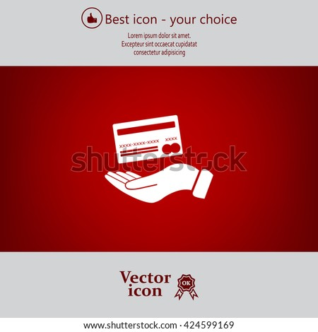 Bank credit card with hand, vector illustration. Flat design style - stock vector