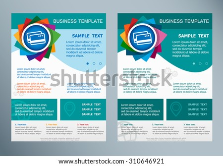 Bank credit cards sign on abstract vector modern flyer. Brochure design template.  - stock vector